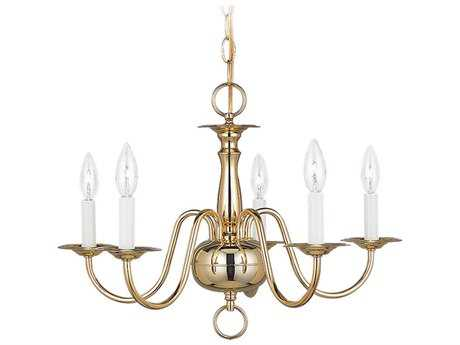 Sea Gull Lighting Traditional Polished Brass Five-Light 20.25'' Wide Mini-Chandelier
