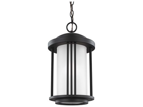 Sea Gull Lighting Crowell Black 15.66'' Wide CFL Outdoor Pendant Light with Satin Etched Glass
