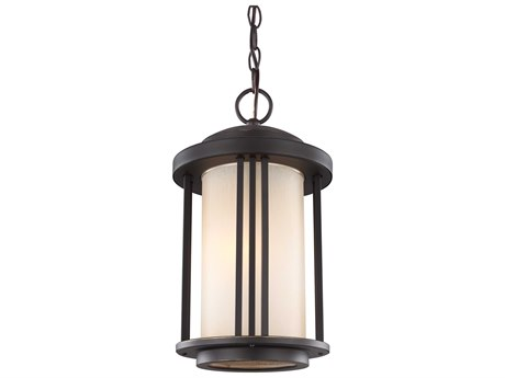 Sea Gull Lighting Crowell Antique Bronze 15.66'' Wide CFL Outdoor Pendant Light with Creme Parchment Glass