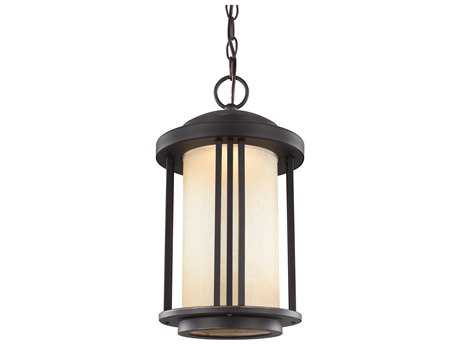 Sea Gull Lighting Crowell Antique Bronze 15.66'' Wide LED Outdoor Pendant Light with Creme Parchment Glass