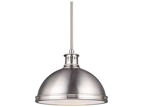 Sea Gull Lighting Pratt Street Metal Brushed Nickel 9.75'' Wide LED Pendant Ceiling Light with Clear Textured Glass