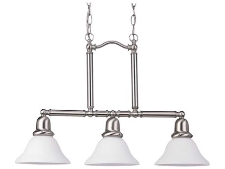 Sea Gull Lighting Sussex Brushed Nickel Three-Light 26'' Wide Fluorescent Island Light