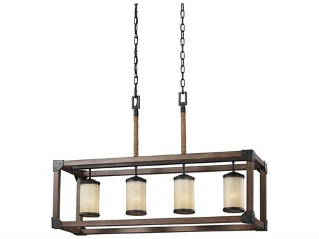 Sea Gull Lighting Dunning Stardust & Cerused Oak Four-Light 36'' Wide Fluorescent Island Light