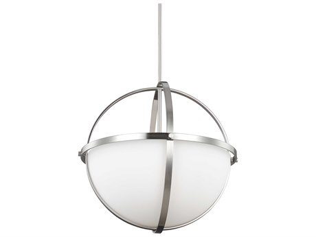 Sea Gull Lighting Alturas Brushed Nickel Three-Light 18.75'' Wide CFL Pendant Ceiling Light with Etched / White Inside Glass