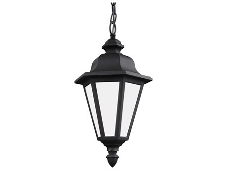Sea Gull Lighting Brentwood Black 18.75'' Wide CFL CFL Outdoor Pendant Light with Smooth White Glass