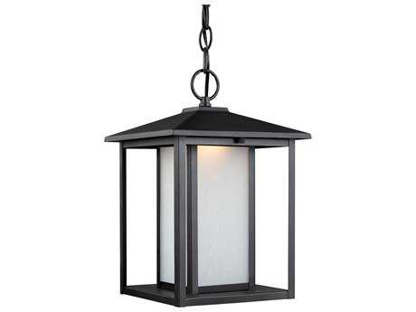 Sea Gull Lighting Hunnington Black 13.75'' Wide LED Outdoor Pendant Light with Etched Seeded Glass