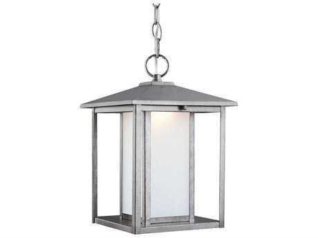 Sea Gull Lighting Hunnington Weathered Pewter 13.75'' Wide LED Outdoor Pendant Light with Etched Seeded Glass