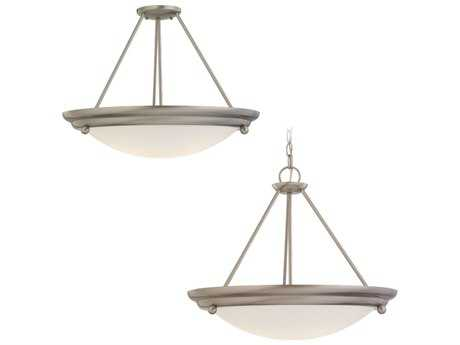 Sea Gull Lighting Centra Brushed Stainless 21.25'' Wide Convertible Pendant & Semi-LED Flush Mount Light