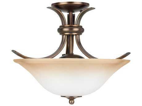 Sea Gull Lighting Rialto Russet Bronze Two-Light 16'' Wide Convertible Semi-Flush Mount Light