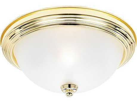 Sea Gull Lighting Ceiling Polished Brass Two-Light 12.5'' Wide Flush Mount Light