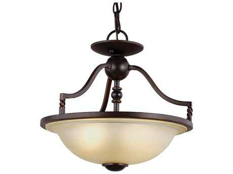 Sea Gull Lighting Trempealeau Roman Bronze Two-Light 14.13'' Wide Convertible Pendant & Semi-Flush Mount Light