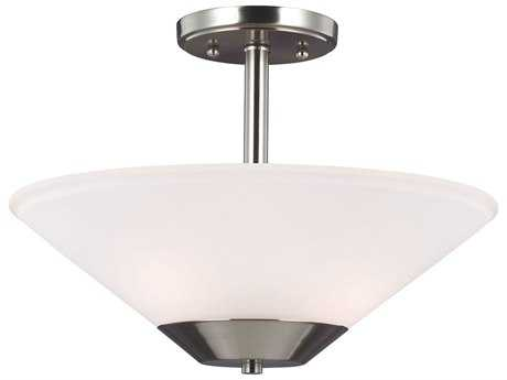 Sea Gull Lighting Ashburne Brushed Nickel Two-Light 15'' Wide Convertible Pendant & Semi-Flush Mount Light