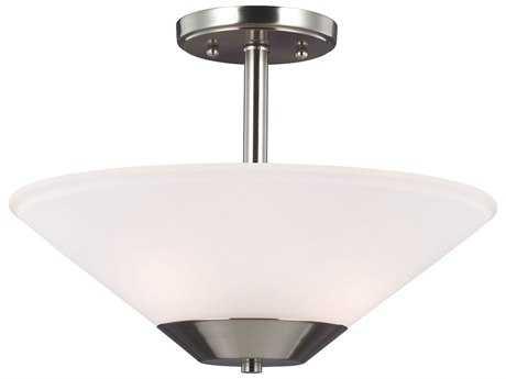 Sea Gull Lighting Ashburne Brushed Nickel Two-Light 15'' Wide Fluorescent Convertible Pendant & Semi-Flush Mount Light