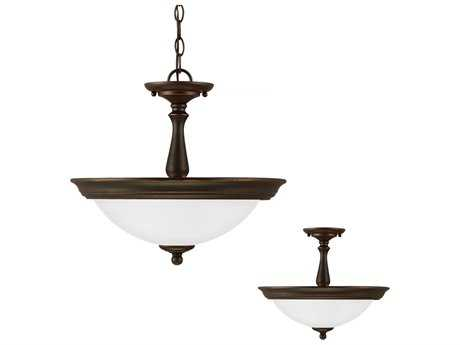 Sea Gull Lighting Northbrook Roman Bronze Two-Light 15.25'' Wide Convertible Pendant & Semi-Flush Mount Light