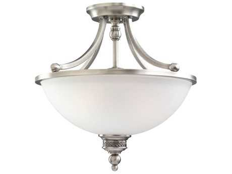 Sea Gull Lighting Laurel Leaf Antique Brushed Nickel Two-Light 15.5'' Wide Convertible Pendant & Semi-Flush Mount Light