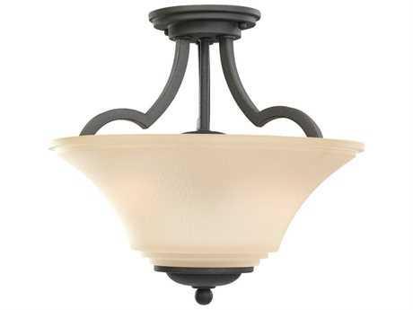 Sea Gull Lighting Somerton Blacksmith Two-Light 13.25'' Wide Convertible Pendant & Semi-Flush Mount Light