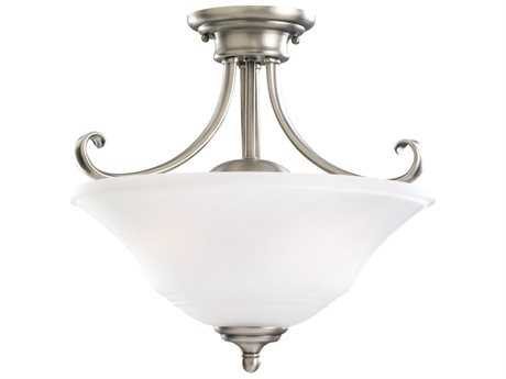 Sea Gull Lighting Parkview Antique Brushed Nickel Two-Light 15'' Wide Convertible Pendant & Semi-Flush Mount Light