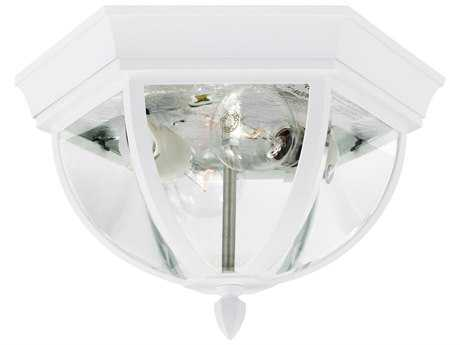 Sea Gull Lighting Brentwood White Two-Light 7.5'' Wide Outdoor Flushmount Light with Clear Beveled Glass