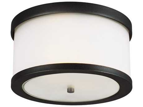 Sea Gull Lighting Bucktown Black Two-Light Outdoor Flush Mount Light