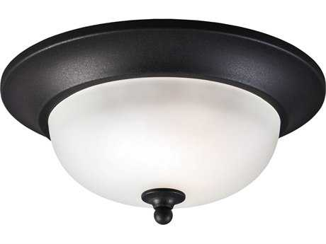 Sea Gull Lighting Humboldt Park Black Outdoor Flush Mount Light