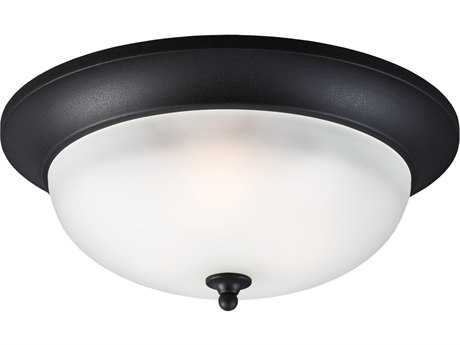 Sea Gull Lighting Humboldt Park Black Three-Light Outdoor Flush Mount Light