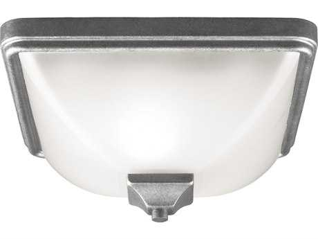 Sea Gull Lighting Irving Park Weathered Pewter Outdoor Flush Mount Light