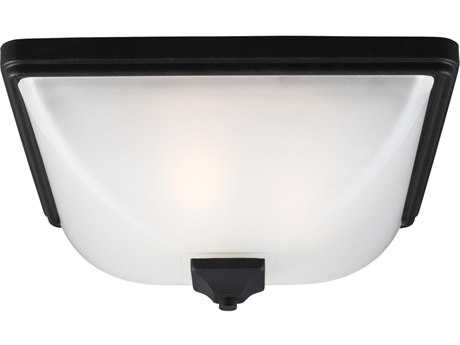 Sea Gull Lighting Irving Park Black Three-Light Outdoor Flush Mount Light