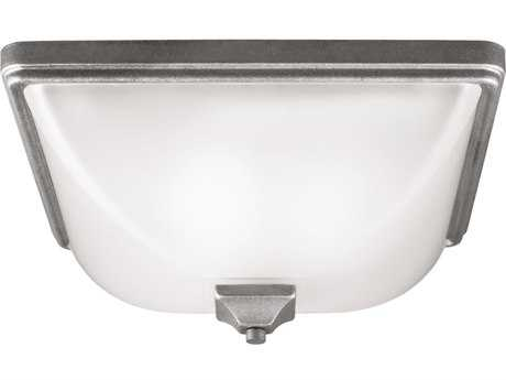 Sea Gull Lighting Irving Park Weathered Pewter Three-Light Outdoor Flush Mount Light