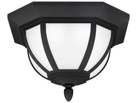 Sea Gull Lighting Childress Black 13.5'' Wide LED Outdoor Flushmount Light with Satin Etched Glass