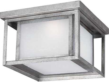 Sea Gull Lighting Hunnington Weathered Pewter 10'' Wide LED Outdoor Flushmount Light with Etched Seeded Glass