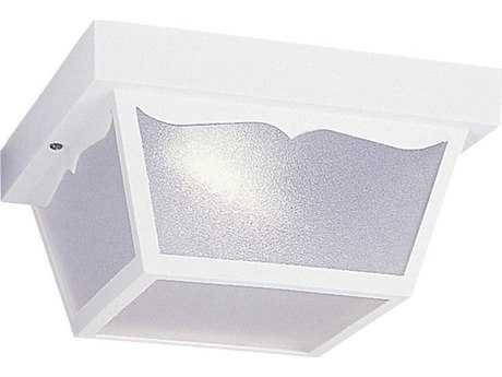 Sea Gull Lighting White Two-Light Fluorescent Outdoor Ceiling Light