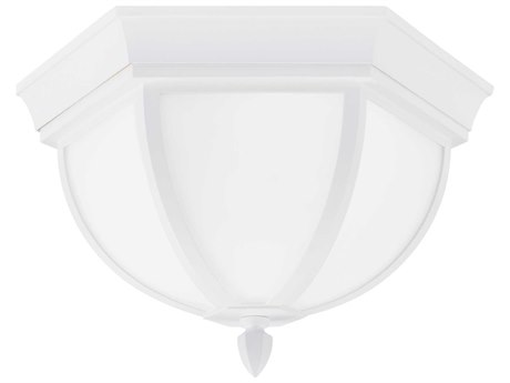 Sea Gull Lighting Brentwood Two-Light 7.5'' Wide CFL Outdoor Flushmount Light with Etched / White Inside Glass