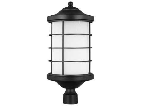 Sea Gull Lighting Sauganash Black 22.25'' Wide LED Outdoor Post Light with Etched Seeded Glass