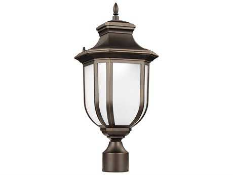 Sea Gull Lighting Childress Antique Bronze 20.5'' Wide LED Outdoor Post Light with Satin Etched Glass