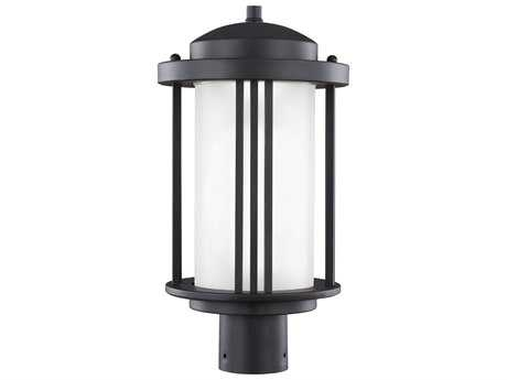 Sea Gull Lighting Crowell Black 16.94'' Wide LED Outdoor Post Light with Satin Etched Glass