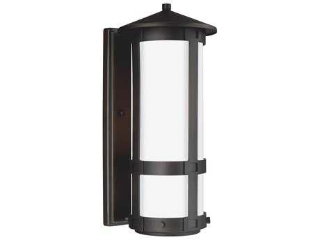 Sea Gull Lighting Groveton Antique Bronze 16.13'' Wide LED Outdoor Wall Sconce with Opal Cased Etched Glass