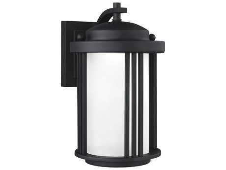 Sea Gull Lighting Crowell Black 10'' Wide LED Outdoor Wall Sconce with Satin Etched Glass