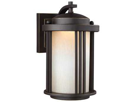 Sea Gull Lighting Crowell Antique Bronze 10'' Wide LED Outdoor Wall Sconce with Creme Parchment Glass