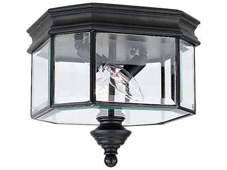 Sea Gull Lighting Hill Gate Black Two-Light Outdoor Ceiling Light
