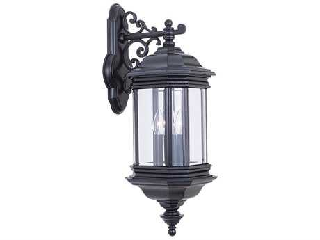 Sea Gull Lighting Hill Gate Black Three-Light Outdoor Wall Light