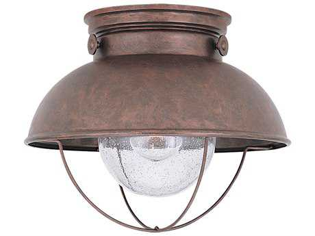 Sea Gull Lighting Sebring Weathered Copper LED Outdoor LED Flush Mount Light