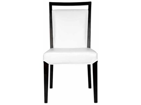 Star International Furniture Basix Enzo Dark Walnut White Bonded Leather Solid Wood Dining Side Chairs (Sold in 2)