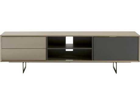 Star International Furniture Seasons Lagos Mocha High Gloss and Matte Grey / Black 71'' x 16.5'' TV Stand