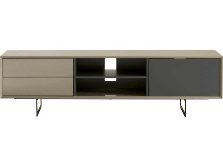 Star International Furniture Seasons Lagos Mocha High Gloss and Matte Grey / Black 71'' x 16.5'' TV Stand