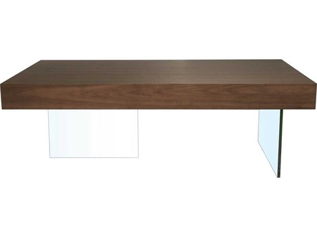 Star International Furniture Cleo Blain Dark Walnut Wood & Glass 47.25'' x 31.5'' Rectangular Coffee Table