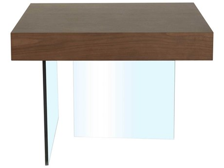 Star International Furniture Cleo Blain Dark Walnut Wood & Glass 27.5'' x 27.5'' Square End Table