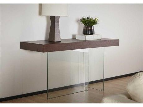 Star International Furniture Cleo Blain Dark Walnut Wood & Glass 59'' x 19.75'' Rectangular Console Table