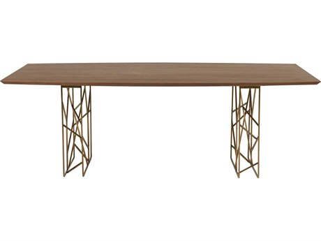 Star International Furniture Cleo Oro Dark Walnut & Antique Gold 87'' x 47.5'' Rectangular Dining Table