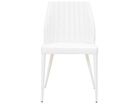 Star International Furniture Meridian Ray Set of Two White Synthetic Leather Dining Side Chairs