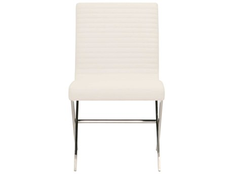Star International Furniture Omni Comet Stainless Steel Cappuccino Bonded Leather Metal Set of 2 Dining Side Chairs